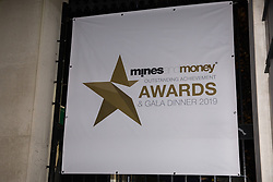 London, UK. 26 November, 2019. Signage for the Mines and Money awards ceremony outside the Honorary Artillery Company.