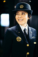 A staff member on the Seven Stars Kyushu luxury train in southern Japan.