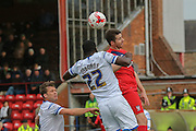 AFC Wimbledon defender, on loan from Bristol City, Karleigh Osborne   beats York City forward, on loan from Oldham Athletic, Rhys Turner during the Sky Bet League 2 match between York City and AFC Wimbledon at Bootham Crescent, York, England on 24 October 2015. Photo by Simon Davies.