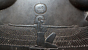 Detail from Sarcophagus-lid of the Vizier Sisebek. 26th Dynasty (approx. 600BC) Egyptian. Made of schist. A figure of the goddess Nut adorns the chest, as well as hieroglyphs stating a prayer for offerings.