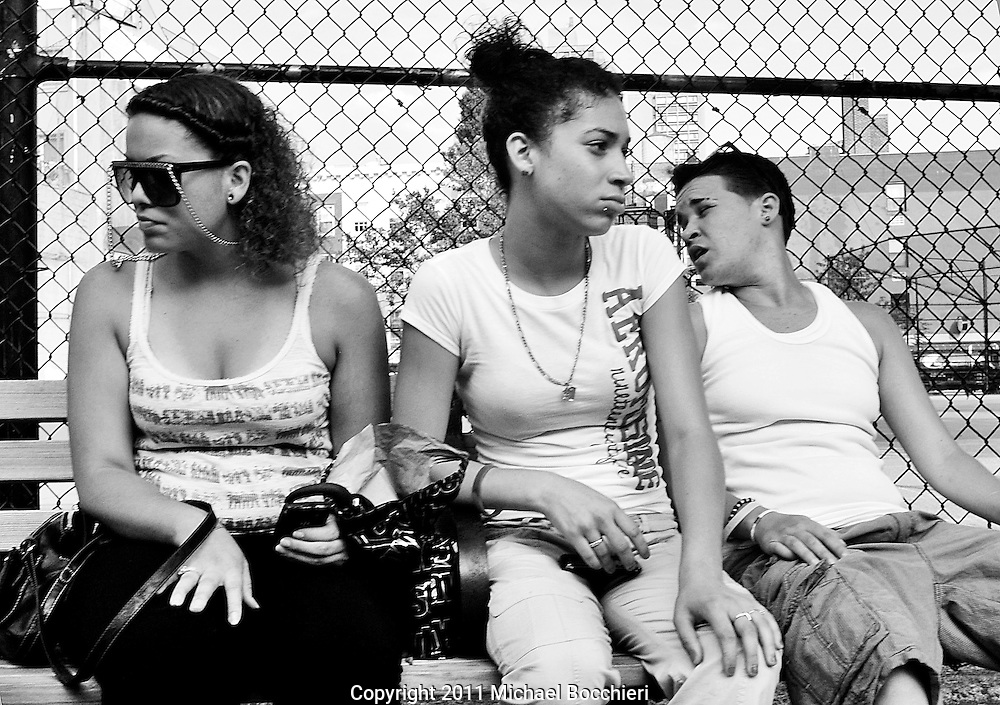 NEW YORK, NY - June 28:  Three women sit on a bench in SoHo on June 28, 2011 in NEW YORK, NY.  (Photo by Michael Bocchieri/Bocchieri Archive)
