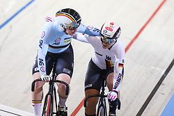 March 4, 2018 - Apeldoorn, Netherlands - Nicky Degrendele (BEL), Kristina Vogel (GER) - Women's Keirin final .during UCI Track Cycling World Championships Apeldoorn 2018, in Apeldoorn, Netherlands, on March 4, 2018. (Credit Image: © Foto Olimpik/NurPhoto via ZUMA Press)