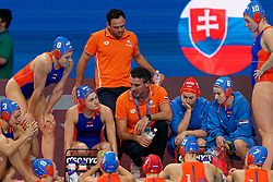 21-01-2020 HUN: European Water polo Championship, Budapest <br /> Slovakia - Netherlands 2—32 / Arno Havenga of Netherlands, Maud Megens #2 of Netherlands, Dagmar Genee #3 of Netherlands, Debby Willemsz #13 of Netherland, Nomi Stomphorst #6 of Netherlands during LEN European Aquatics Waterpolo on January 21, 2020. SVK vs Netherlands in Duna Arena in Budapest, Hungary