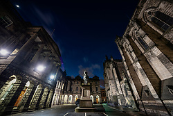 Night view of Parliament Square and the Court of Session buildings in Edinburgh Old Town, Scotland, UK