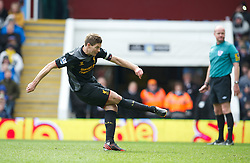 BIRMINGHAM, ENGLAND - Easter Sunday, March 31, 2013: Liverpool's captain Steven Gerrard scores the second goal against from the penalty spot against Aston Villa during the Premiership match at Villa Park. (Pic by David Rawcliffe/Propaganda)
