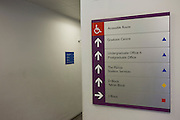 Direction sign inside London Metropolitan University's Holloway Road campus.