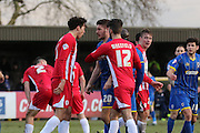confrontation between Matt Crooks of Accrington Stanley FC and Ryan Sweeney of AFC Wimbledon during the Sky Bet League 2 match between AFC Wimbledon and Accrington Stanley at the Cherry Red Records Stadium, Kingston, England on 5 March 2016. Photo by Stuart Butcher.