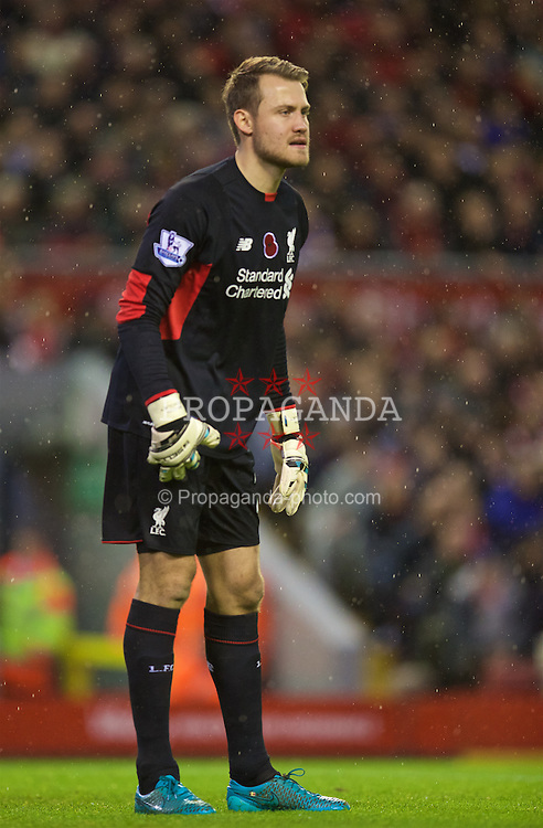 LIVERPOOL, ENGLAND - Sunday, November 8, 2015: Liverpool's goalkeeper Simon Mignolet in action against Crystal Palace during the Premier League match at Anfield. (Pic by David Rawcliffe/Propaganda)