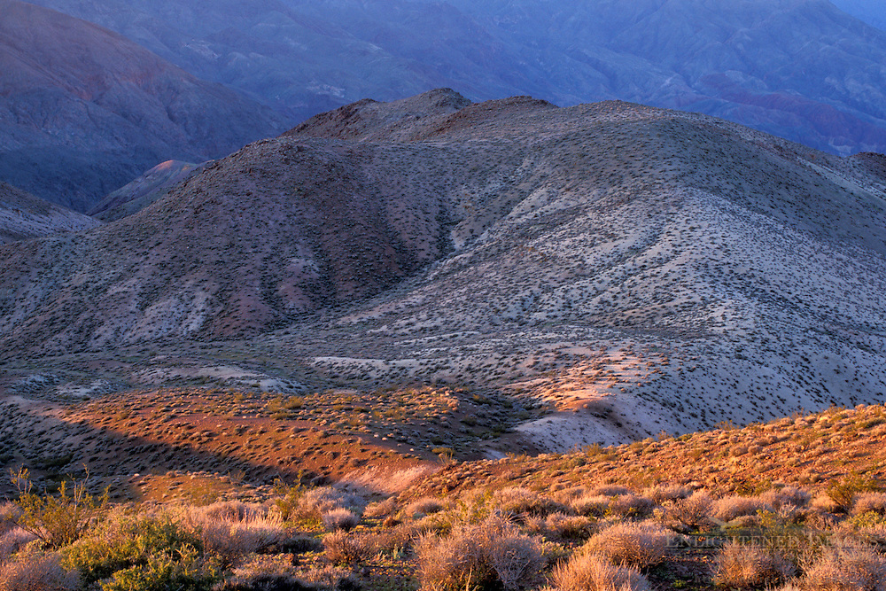 Morning lighrt on the Black Mountains from Dantes View, Death Valley National Park, California