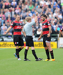 Queen Park Rangers' Charlie Austin gets yellow card after a foul. - Photo mandatory by-line: Alex James/JMP - Tel: Mobile: 07966 386802 21/09/2013 - SPORT - FOOTBALL - Huish Park - Yeovil - Yeovil Town V Queens Park Rangers - Sky Bet Championship