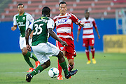 FRISCO, TX - JUNE 26:  Blas Perez #7 of FC Dallas brings the ball up field against the Portland Timbers on June 26, 2013 at FC Dallas Stadium in Frisco, Texas.  (Photo by Cooper Neill/Getty Images) *** Local Caption *** Blas Perez
