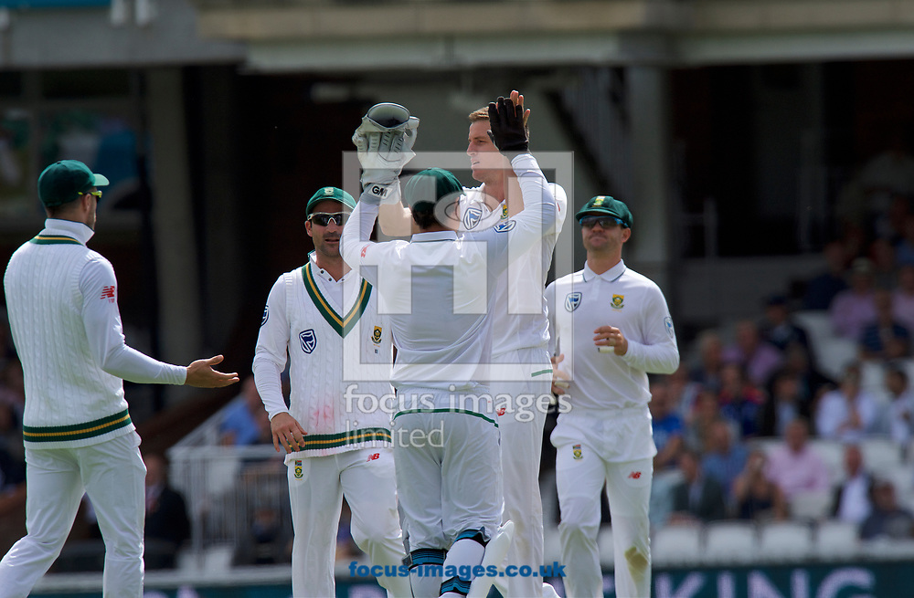 Morne Morkel of South Africa celebrates with Wicketkeeper Quinton de Kock of South Africa  after taking the wicket of Alastair Cook of England who is given out for lbw during the 100th Investec Test Match match at the Kia Oval, London<br /> Picture by Alan Stanford/Focus Images Ltd +44 7915 056117<br /> 28/07/2017