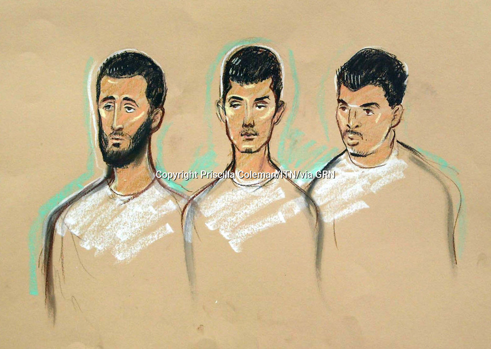 ©Priscilla Coleman ITV News 22.08.06.Supplied by: Photonews Service Ltd Old Bailey.Pic shows: (L-R) Tanvir Hussain, 25, of Leyton, east London, Adam Khatib, 19, of Walthamstow and Assad Ali Sarwar, 26, of High Wycombe in the dock at City of Westminster magsitrates court today. They are variously charged with conspiracy to murder, conspiracy to commit murder and preparing acts of terrorism. In total 11 people appeared before magistrates today in connection with an alleged plot to detonate bombs on transatlantic flights leaving from the UK. Eight are charged with conspiracy to murder and preparing acts of terrorism, two are accused of failing to disclose information and a 17-year-old is charged with possessing articles useful to a person preparing acts of terrorism. See story.Illustration: Priscilla Coleman ITV News