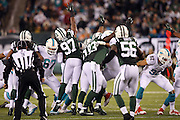 New York Jets outside linebacker Calvin Pace (97) and teammates try to block a field goal attempt during the NFL week 13 regular season football game against the Miami Dolphins on Monday, Dec. 1, 2014 in East Rutherford, N.J. The Dolphins won the game 16-13. ©Paul Anthony Spinelli
