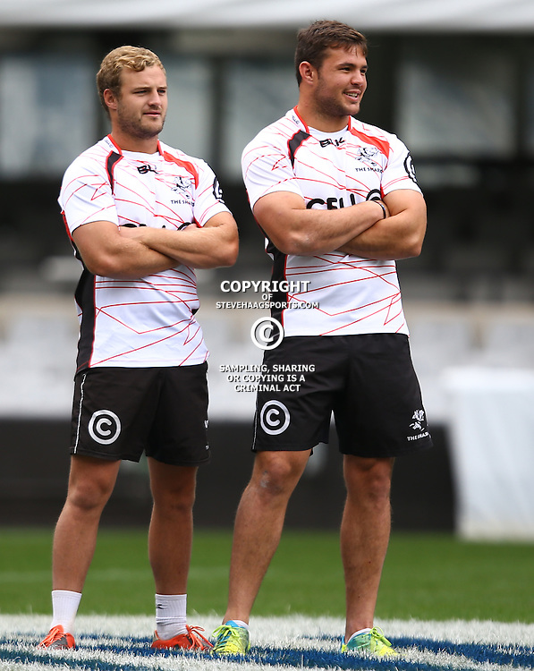DURBAN, SOUTH AFRICA, 9 September, 2016 - Hanco Venter with Franco Marais during The Cell C Sharks Captains Run at Growthpoint Kings Park in Durban, South Africa. (Photo by Steve Haag)<br /> <br /> images for social media must have consent from Steve Haag