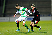 Yeovil Town's Jack Compton and Carlisle Utd's Macaulay Gillesphey during the The FA Cup Third Round Replay match between Yeovil Town and Carlisle United at Huish Park, Yeovil, England on 19 January 2016. Photo by Graham Hunt.