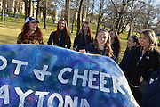 The Kent State Dance team paints The Rock with team pride on Kent Campus before their trip to Daytona to compete in the National Dance Alliance Collegiate Cheer and Dance Championship.