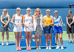 August 5, 2018 - San Jose, CA, U.S. - SAN JOSE, CA - AUGUST 05: The doubles teams of Lyudmyla Kichenok (UKR) and Nadiia Kichenok (UKR) and Latisha Chan (TPE) and Kveta Peschke (CZE) pose with their trophies with a Mubadala representative at the WTA Doubles Championship match at the Mubadala Silicon Valley Classic on the San Jose State University Stadium Court in San Jose, CA  on Sunday, August 5, 2018. (Photo by Douglas Stringer/Icon Sportswire) (Credit Image: © Douglas Stringer/Icon SMI via ZUMA Press)