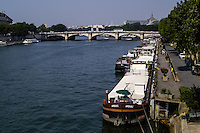 View of the Seine River, Paris, France. Close to the  Musee d'Orsay.