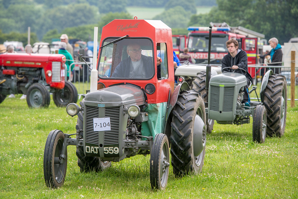 Mature and young male driving vintage tractors along grass, Masham, North Yorkshire, UK