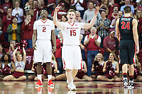 FAYETTEVILLE, AR - MARCH 4:  Jonathan Holmes #15 of the Arkansas Razorbacks celebrates after making a bucket during a game against the Georgia Bulldogs at Bud Walton Arena on March, 2017 in Fayetteville, Arkansas.  The Razorbacks defeated the Bulldogs 85-67.  (Photo by Wesley Hitt/Getty Images) *** Local Caption *** Jonathan Holmes