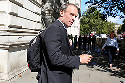 © Licensed to London News Pictures. 04/009/2019. London, UK. Foreign Secretary DOMINIC RAAB walking to the House of Commons to attend British Prime Minister Boris Johnson's' first Prime Minister's Questions (PMQs). Photo credit: Dinendra Haria/LNP