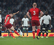 England's Fly Half George Ford opening the scoring with Englans first penalty to take the score England 3 Fiji 0during the Rugby World Cup Pool A match between England and Fiji at Twickenham, Richmond, United Kingdom on 18 September 2015. Photo by Matthew Redman.