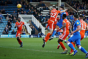 Peterborough Utd defender Ryan Tafazolli (5) goes wide with this late header during the EFL Sky Bet League 1 match between Peterborough United and Shrewsbury Town at London Road, Peterborough, England on 23 February 2019.
