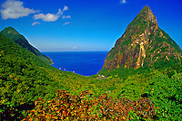 Looking from the Ladera Resort to the Petit Piton in back, Soufriere, St. Lucia