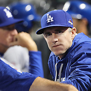 Chase Utley, Los Angeles Dodgers, in the dugout during the New York Mets Vs Los Angeles Dodgers, game three of the NL Division Series at Citi Field, Queens, New York. USA. 12th October 2015. Photo Tim Clayton for The Players Tribune