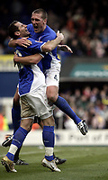 Shefki Kuqi celebrates after scoring with Jason De Vos.<br /> Ipswich Town v Nottingham Forest. Coca Cola Championship. 12/03/05. Picture by Barry Bland
