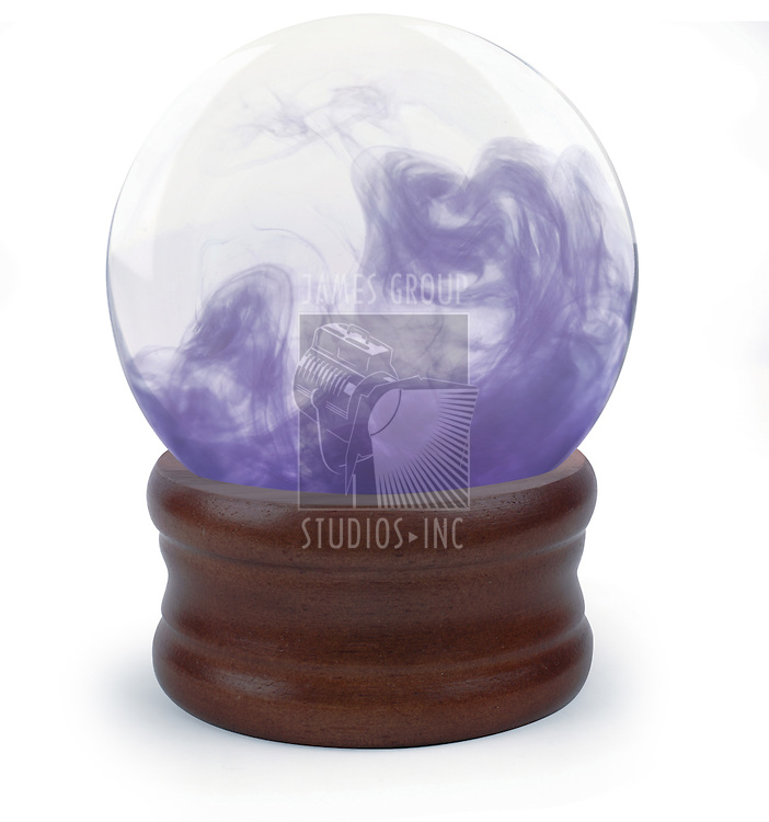 Crystal ball on white background with purple cloud