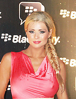 Nicola McLean was attending Blackberry's BBM Event - a celebration of the smartphone's free instant messaging app. The Bankside Vaults, London, UK. April 03, 2012. (Photo by Brett Cove)