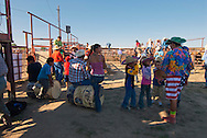 Crow Fair, Indian rodeo, behind the chutes, Crow Indian Reservation, Montana