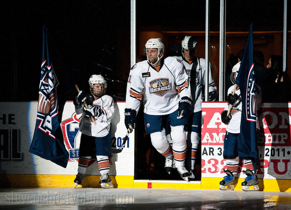 January 8, 2011: The Oklahoma City Barons play the Peoria Rivermen in an American Hockey League game at the Cox Convention Center in Oklahoma City.
