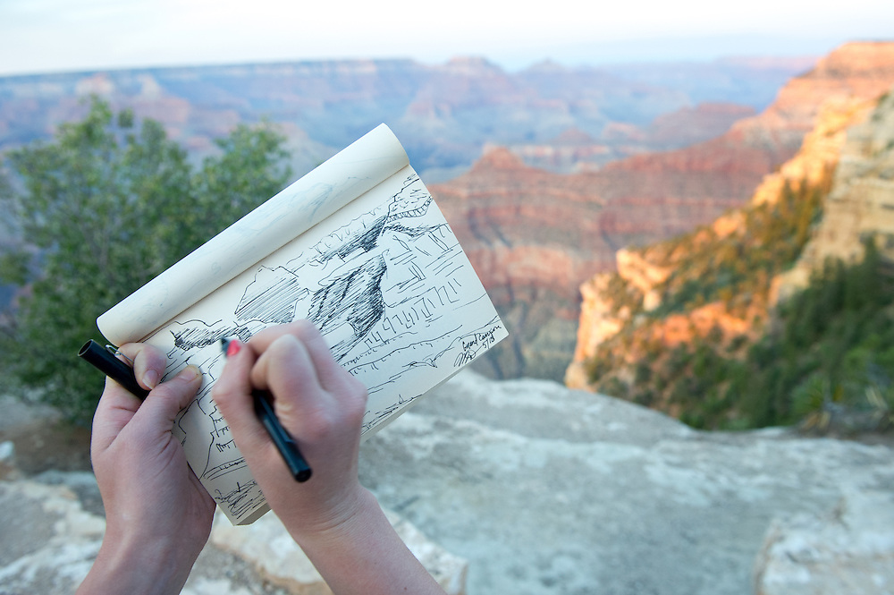Young Woman Sketching the Grand Canyon