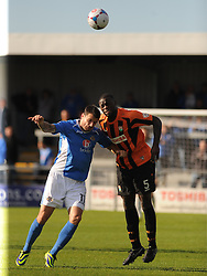 Barnets Bondz N'Gala, holds of Eastleighs Craig McAllister, Barnet v Eastleigh, Vanarama Conference, Saturday 4th October 2014