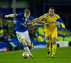 LIVERPOOL, ENGLAND - Thursday, December 17, 2009: Everton's Seamus Coleman and FC BATE Borisov's Ogannes Goaryan during the UEFA Europa League Group I match at Goodison Park. (Pic by David Rawcliffe/Propaganda)