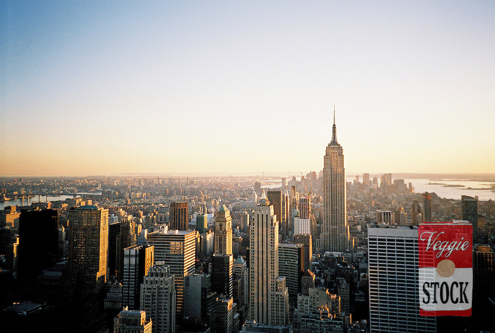 The Empire State Building and downtown Manhattan from the top of the Rockefeller Center at sunset, New York, USA, October 2009.