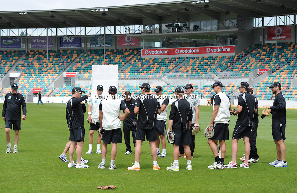 The Black Caps huddle together ahead of the second cricket test match versus Australia in Hobart. Wednesday 7 December 2011. Photo: Andrew Cornaga/Photosport.co.nz