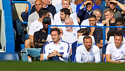 LONDON, ENGLAND - Sunday, August 18, 2019: Chelsea's new manager Frank Lampard in the dug-out during the FA Premier League match between Chelsea's  FC and Leicester City FC at Stamford Bridge. (Pic by David Rawcliffe/Propaganda)