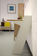 Furniture designer Leonhard Pfeifer's Hackney studio, London. Piece shown is the Slope desk (awarded Design Guild Mark 2014) manufactured in Germany by Müller Möbelwerkstätten<br /> CREDIT: Vanessa Berberian for The Wall Street Journal<br /> GURU-Pfeifer