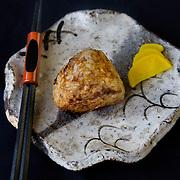 Onigiri (rice ball) stuffed wtih pork belly,  at Kushi, an Izakaya and Sushi restaurant in downtown Washington, DC.