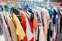 Clothing on display racks; Koh Pha Ngan; Thailand