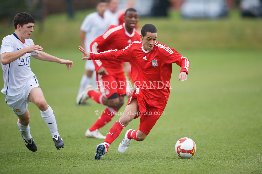 KIRKBY, ENGLAND - Saturday, December 13, 2008: Liverpool's Thomas Ince in action against Manchester United during the FA Premier Academy Group A match at the Kirkby Academy. (Pic by David Rawcliffe/Propaganda)