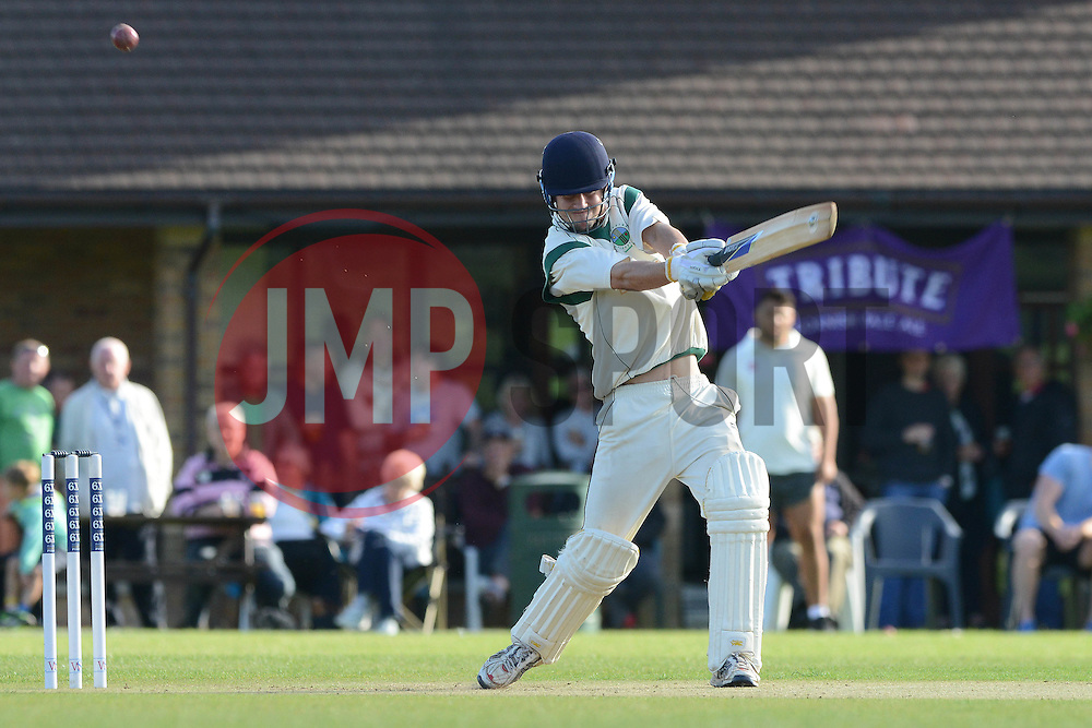 A Bishopston player bats during a game against Bristol Rugby - Photo mandatory by-line: Dougie Allward/JMP - Mobile: 07966 386802 - 29/07/2015 - SPORT - Cricket - Bristol - Westbury Fields - Bishopston CC v Bristol Rugby - Exhibition Game