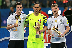 July 2, 2017 - Saint Petersburg, Russia - July 2, 2017. Russia, Saint Petersburg, Saint Petersburg Arena Stadium. FIFA Confederations Cup 2017. Final. Germany's players celebrate winning during match between Chile and Germany (Credit Image: © Russian Look via ZUMA Wire)
