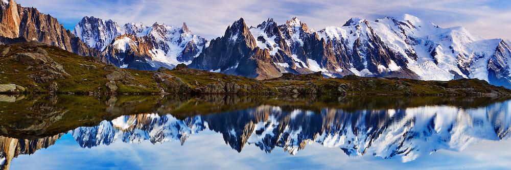 Mountain impression Lacs des Cheserys with Aiguille Vert, Aiguilles de Chamonix, Mont Blanc - Europe, France, Haute Savoie, Aiguilles Rouges, Lacs des Chesery - Afternoon - September 2008