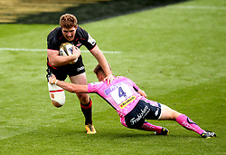 Will Wilson of Saracens goes past Sam Morley of Exeter Chiefs - Mandatory by-line: Robbie Stephenson/JMP - 29/07/2017 - RUGBY - Franklin's Gardens - Northampton, England - Exeter Chiefs v Saracens - Singha Premiership Rugby 7s