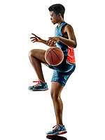 one african Basketball players woman teenager girl isolated on white background with shadows